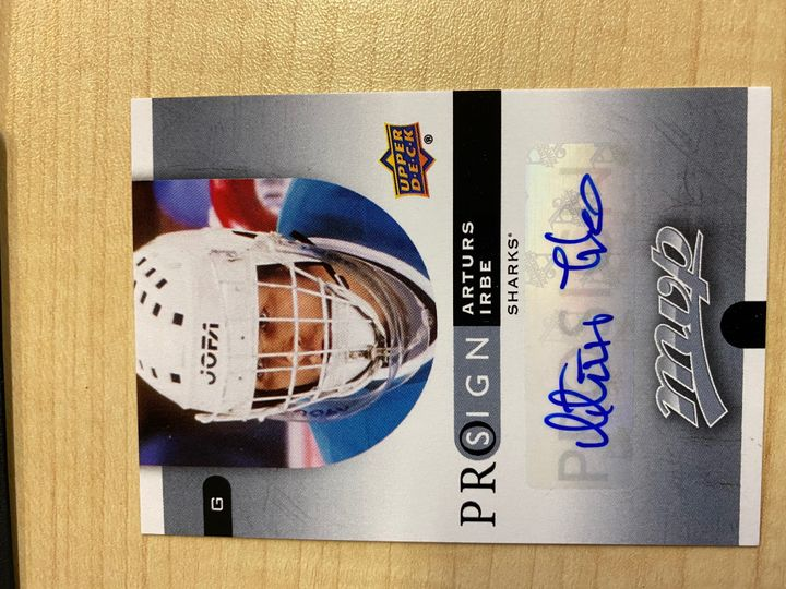 2015/16 Upper Deck MVP hockey Prosign, card number PS-AI, Arturs Irbe