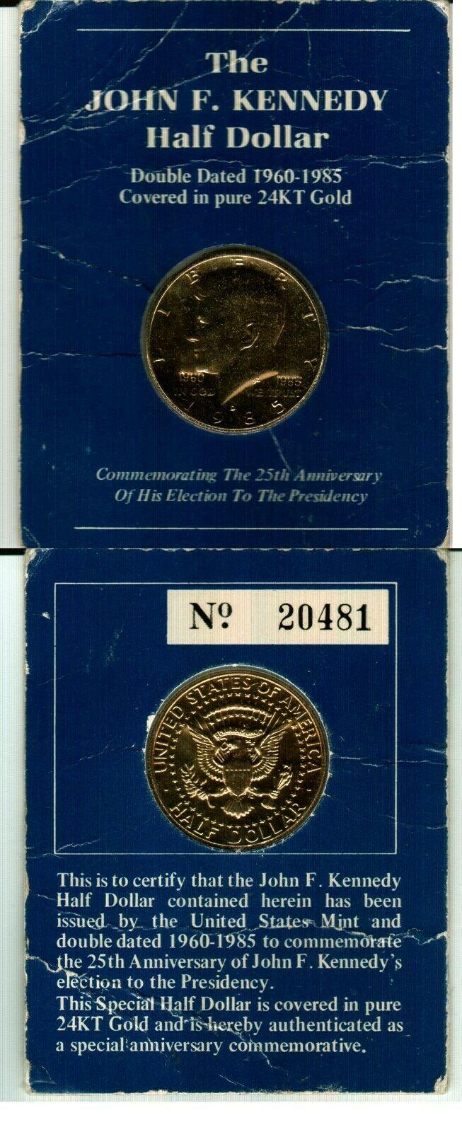 1980 Kennedy Half Dollar 24 Karat Gold Coin WELLINGTON MINT COA commemorative