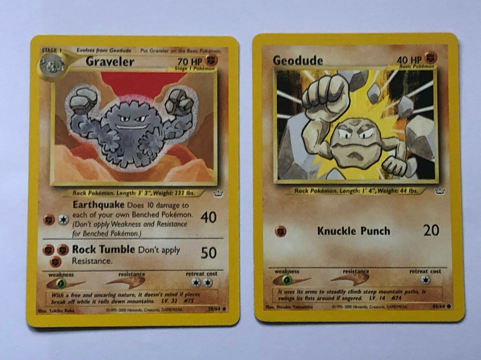 44//64 NM GEODUDE 1st Edition Neo Revelation Common Pokemon Card