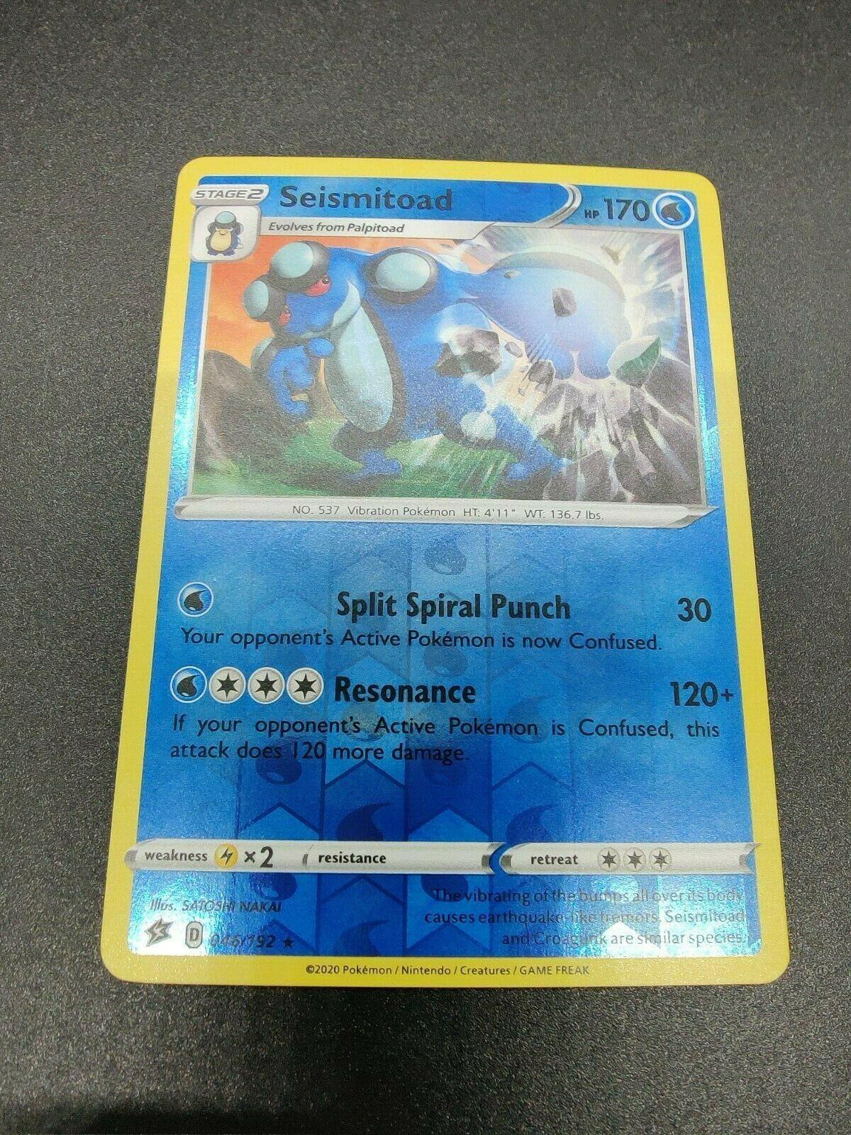 Pokemon Card  SEISMITOAD  Reverse Holo Rare 46//192 REBEL CLASH  *MINT* 046