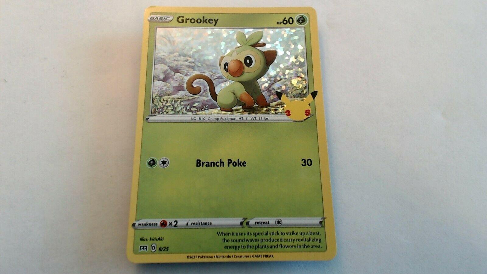 Pokemon Grookey HOLO 8/25 McDonald's 25th Anniversary NM