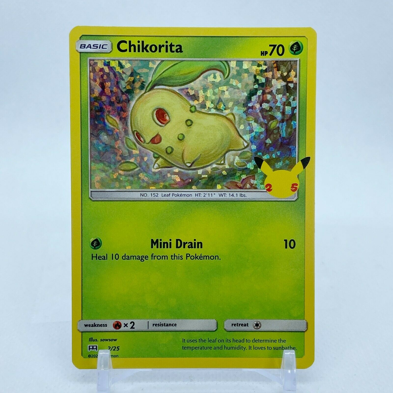 Chikorita - 2/25 Mcdonald's Promo 25th Anniversary Holo Starter Pokemon- NM/MINT