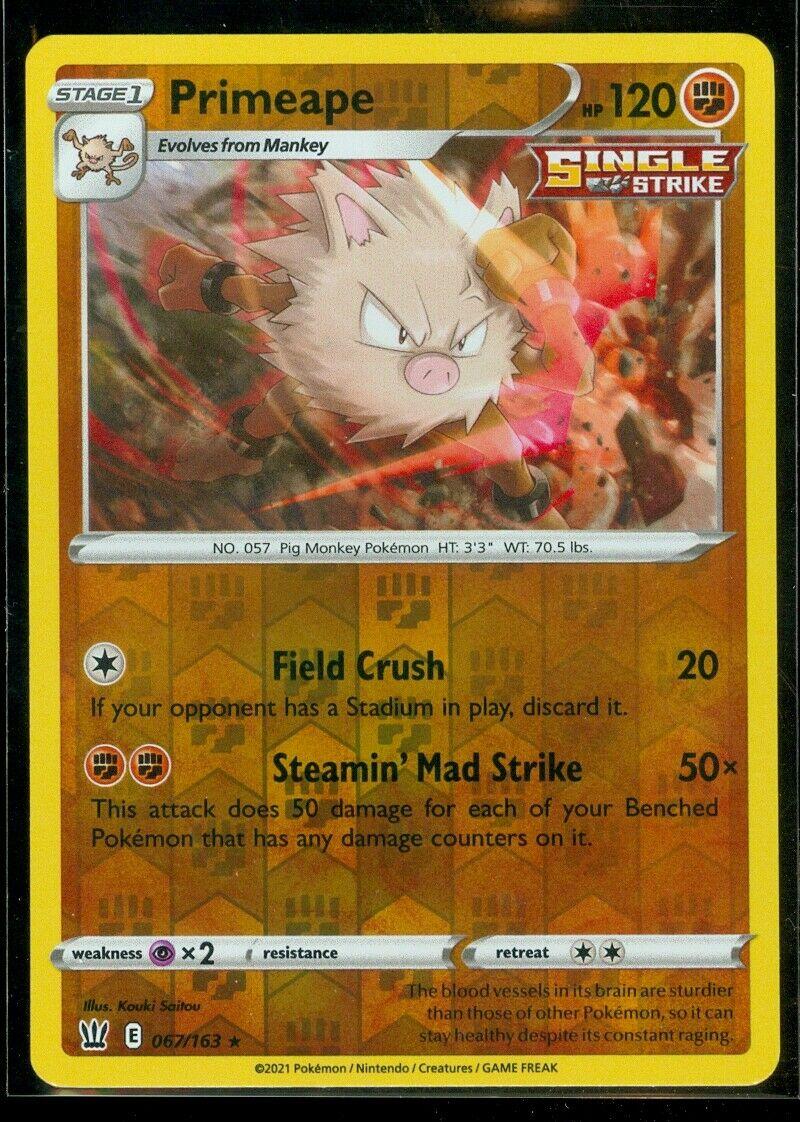 Pokemon PRIMEAPE 067/163 Battle Styles - RARE Rev Holo - MINT