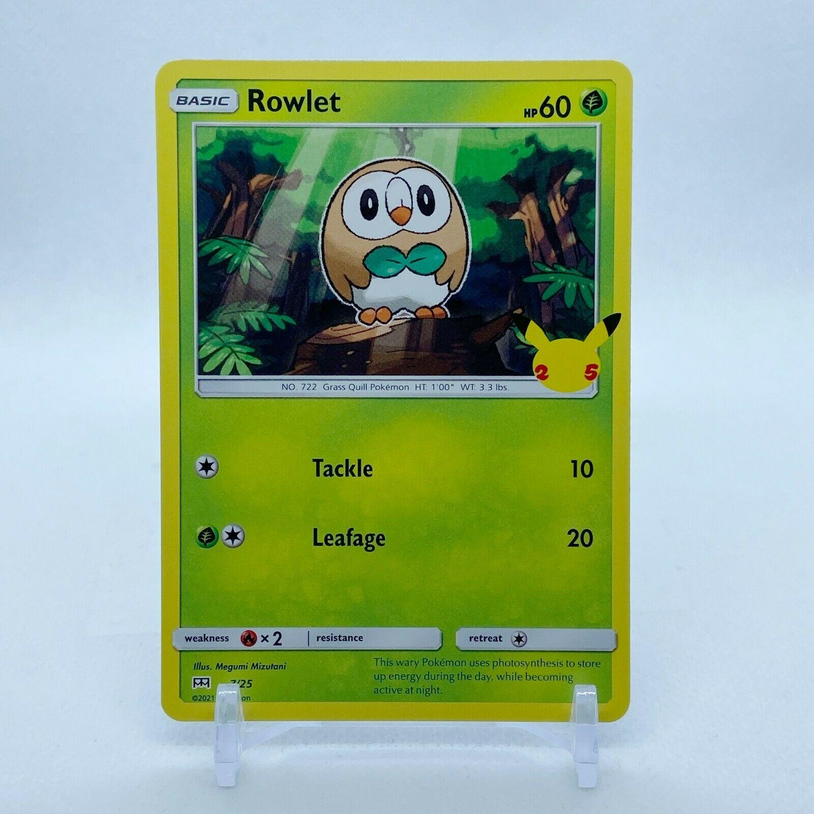 Rowlet - 7/25 Mcdonald's Promo 25th Anniversary Starter Pokemon - NM/MINT
