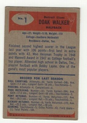 1955 Bowman Football #1 Doak Walker HOFer fair BV $75 - Image 2