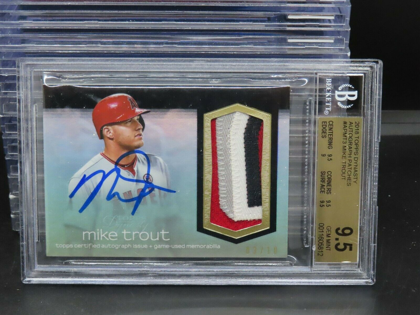 2018 Topps Dynasty Mike Trout GU Patch Auto Autograph #3/10 BGS 9.5/10 M581 - Image 1