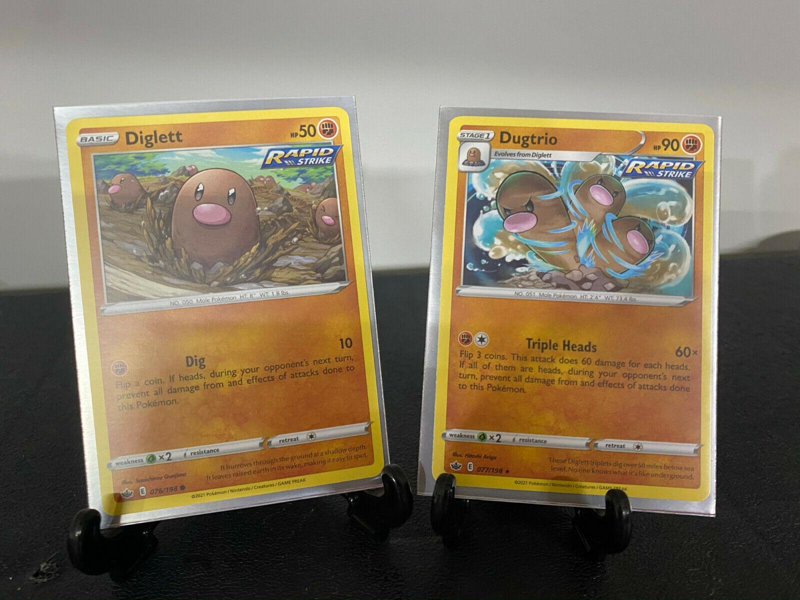 Diglett 076/198  Dugtrio 077/198 Chilling Reign Pokemon Card Rapid Strike Set