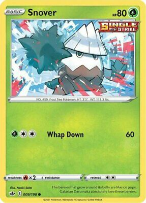 x4 Snover - 009/198 - Common - Reverse Holo Pokemon SS06 Chilling Reign M/NM