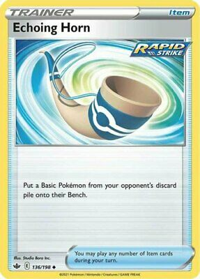 x4 Echoing Horn - 136/198 - Uncommon - Reverse Holo Pokemon SS06 Chilling Reign  - Image 1