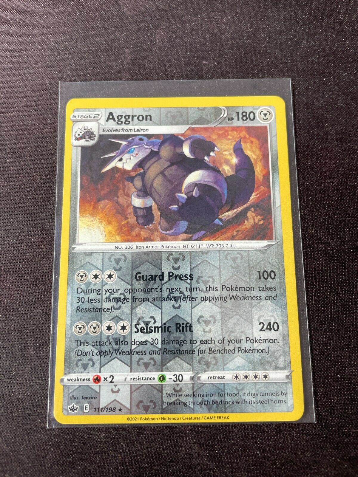 Pokemon TCG Chilling Reign 111/198 Aggron Card Fresh Reverse Holo Mint Rare