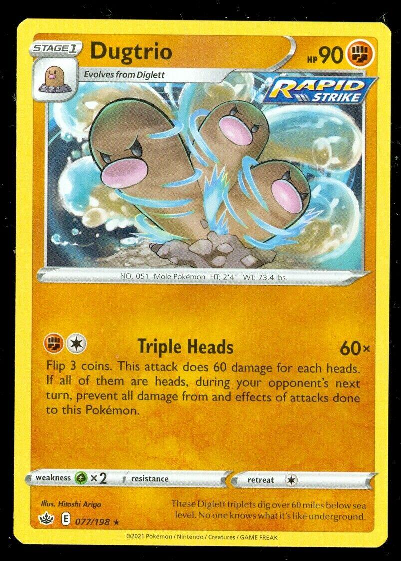 Pokemon DUGTRIO 077/198 Chilling Reign - RARE - - MINT
