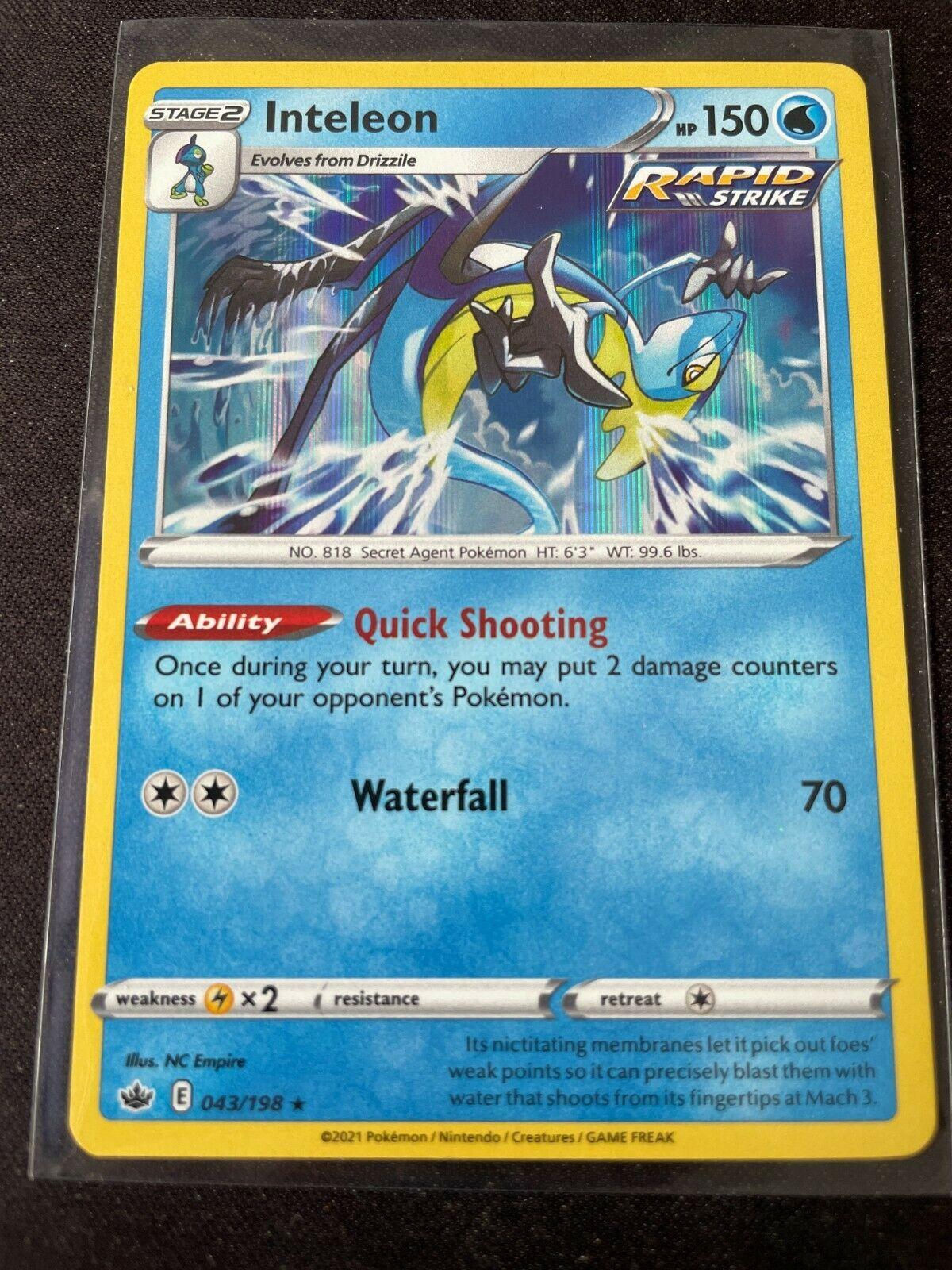 Pokemon TCG Chilling Reign 043/198 Inteleon Card Holo Holographic Mint Rare