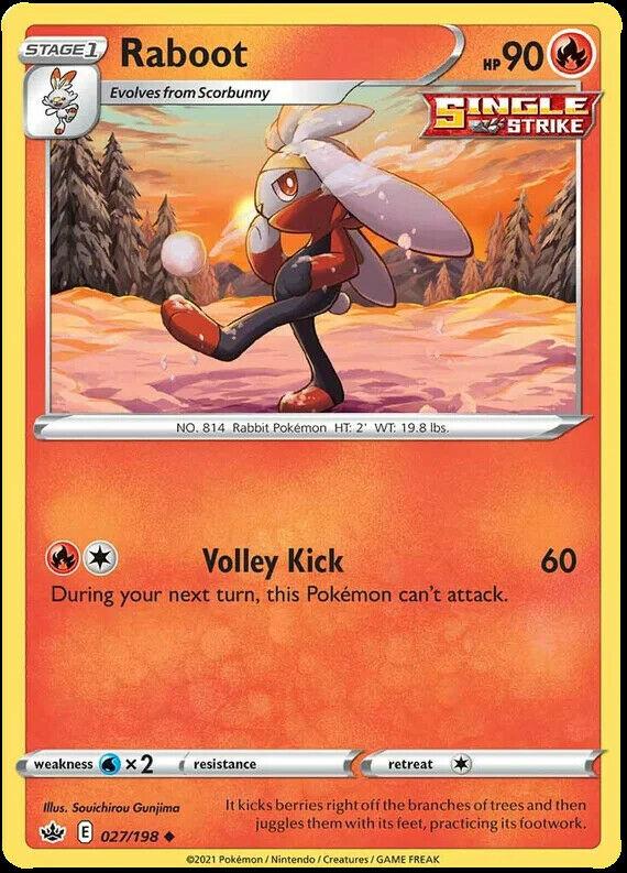 4x Raboot 027/198 NM|M- Chilling Reign Pokemon