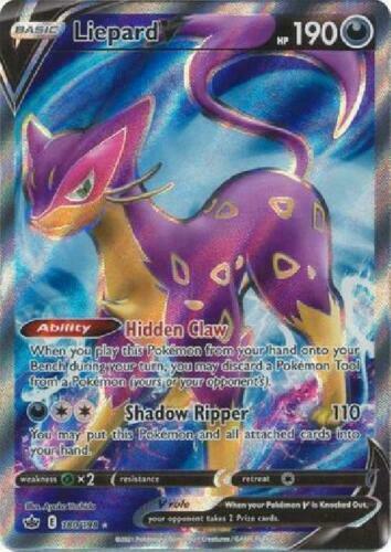 Pokemon - Liepard V - 180/198 - Full Art - Chilling Reign  - NM/M