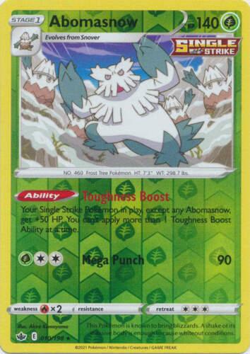 Pokemon - Abomasnow - 010/198 - Reverse Holo Rare - Chilling Reign - NM/M