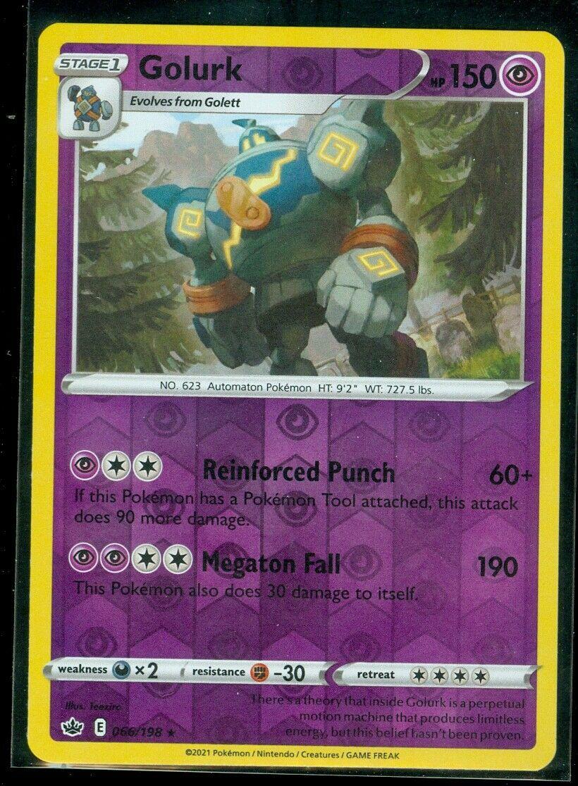 Pokemon GOLURK 066/198 Chilling Reign - RARE Rev Holo - - MINT