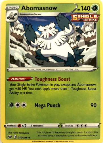 Abomasnow 010/198 Chilling Reign Single Strike Rare Pokemon Card