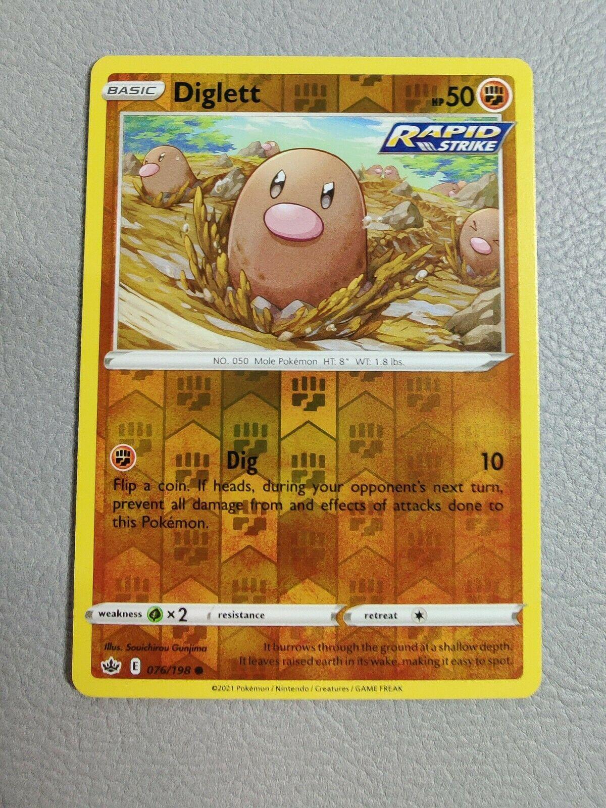 Diglett   Reverse Holo   MINT   Chilling Reign 076/198   Common   Pokemon