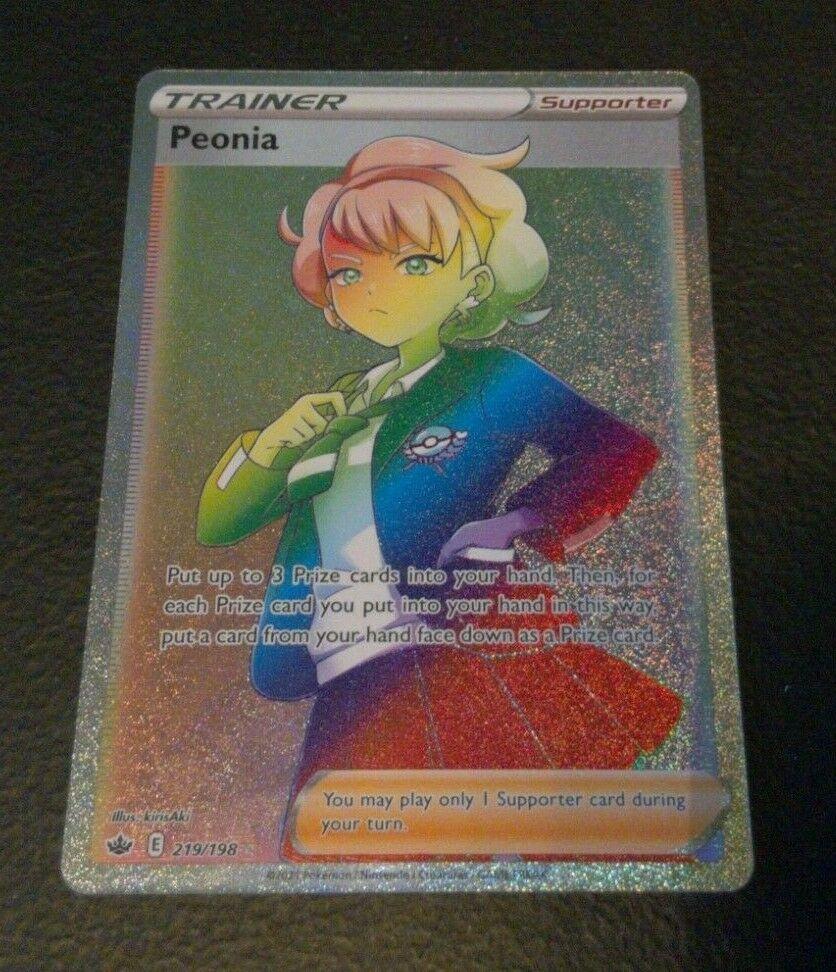 Trainer Peonia Rainbow Rare Secret Chilling Reign Pokemon Card 219/198