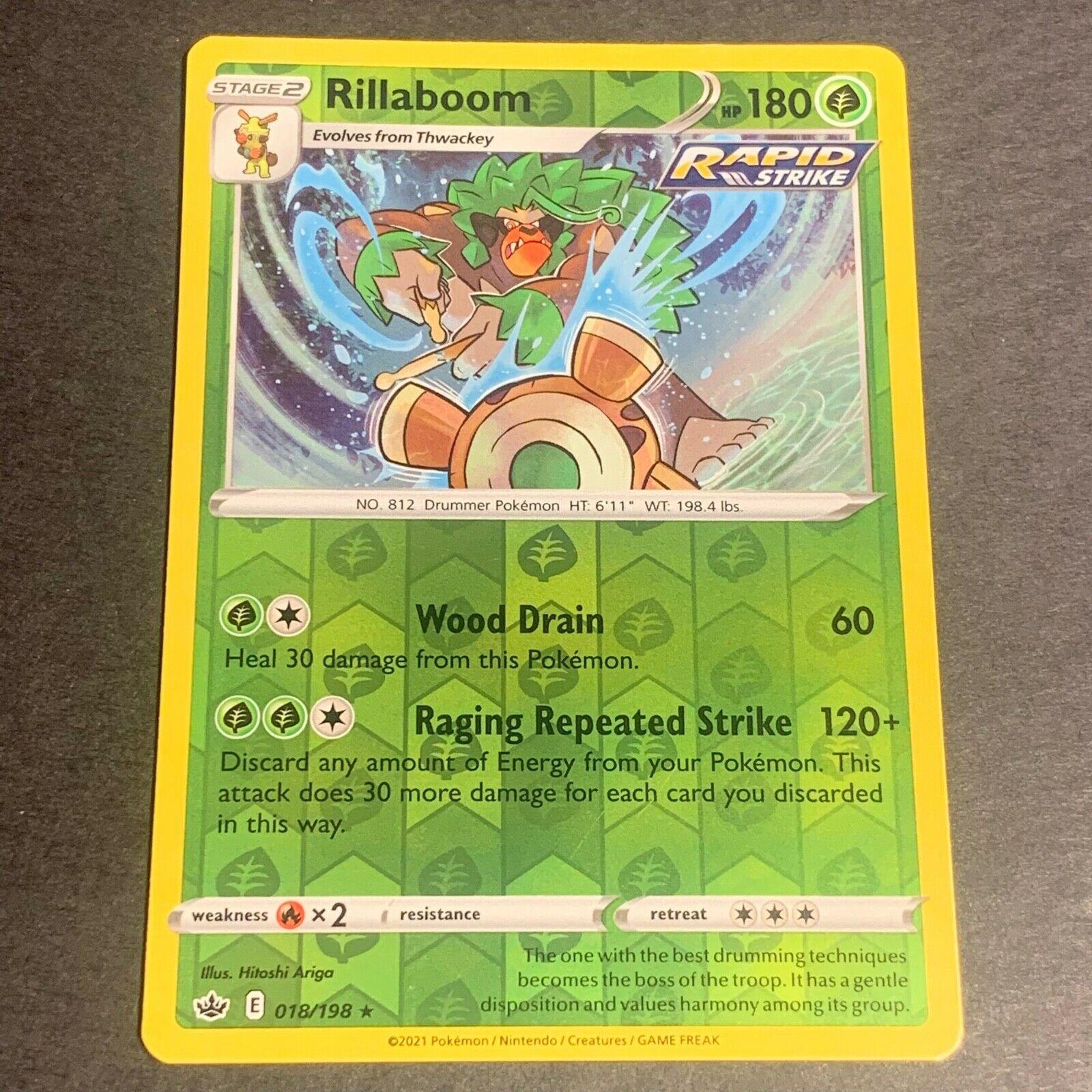 Pokemon S&S Chilling Reign REVERSE HOLO (R.) Rillaboom 018/198 - Near Mint (NM)