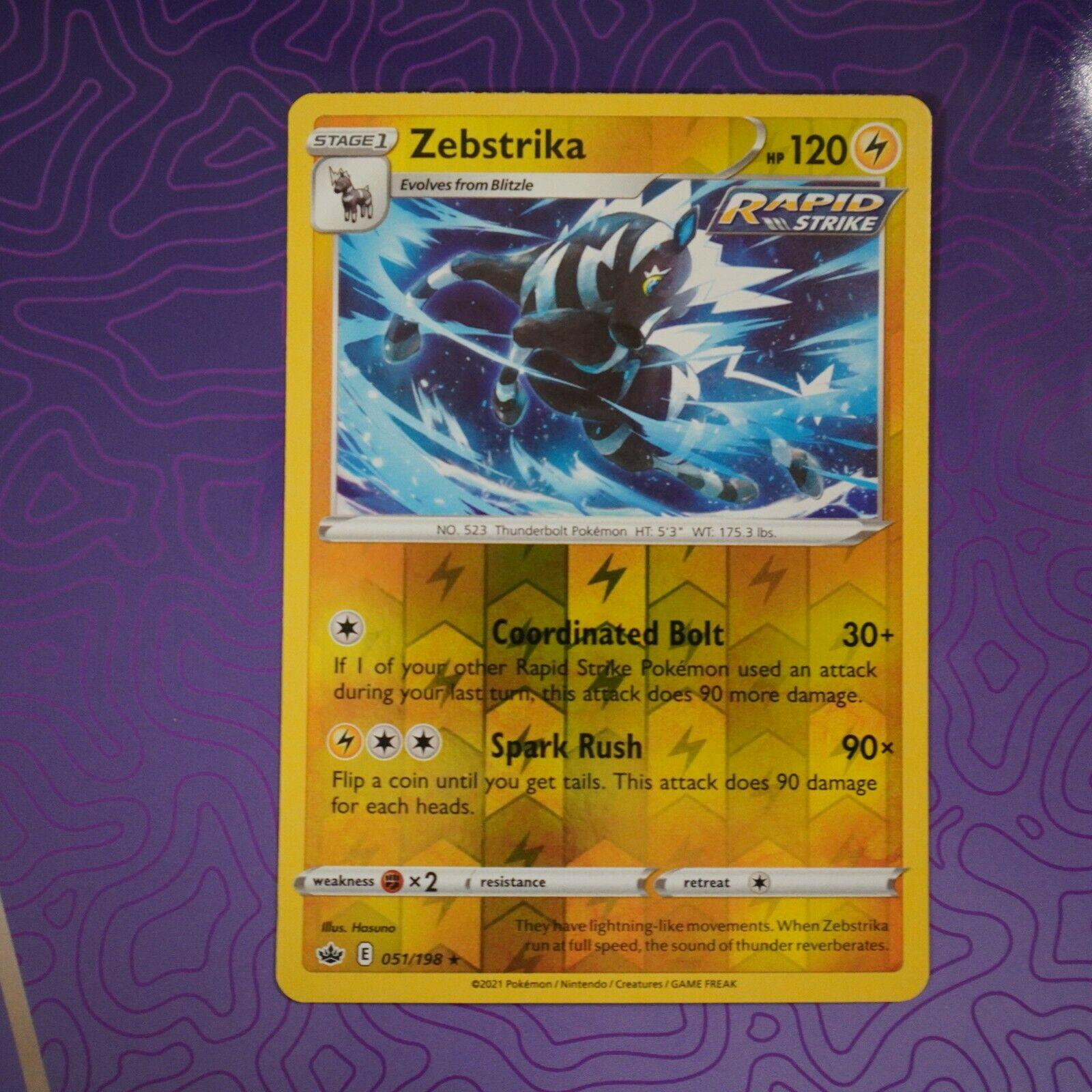 Zebstrika 051/198 Reverse Holo Rare Chilling Reign Near Mint