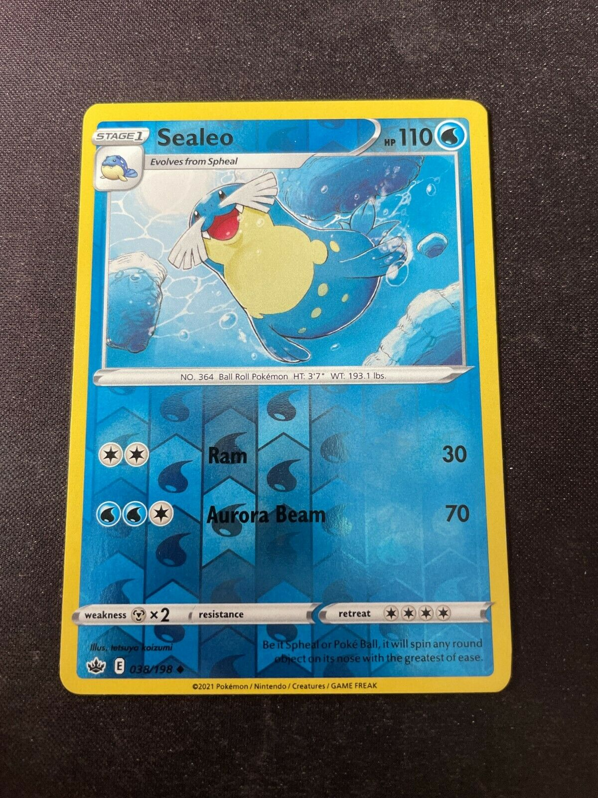 Pokemon TCG Chilling Reign 038/198 Sealeo Card Fresh Reverse Holo Mint Rare