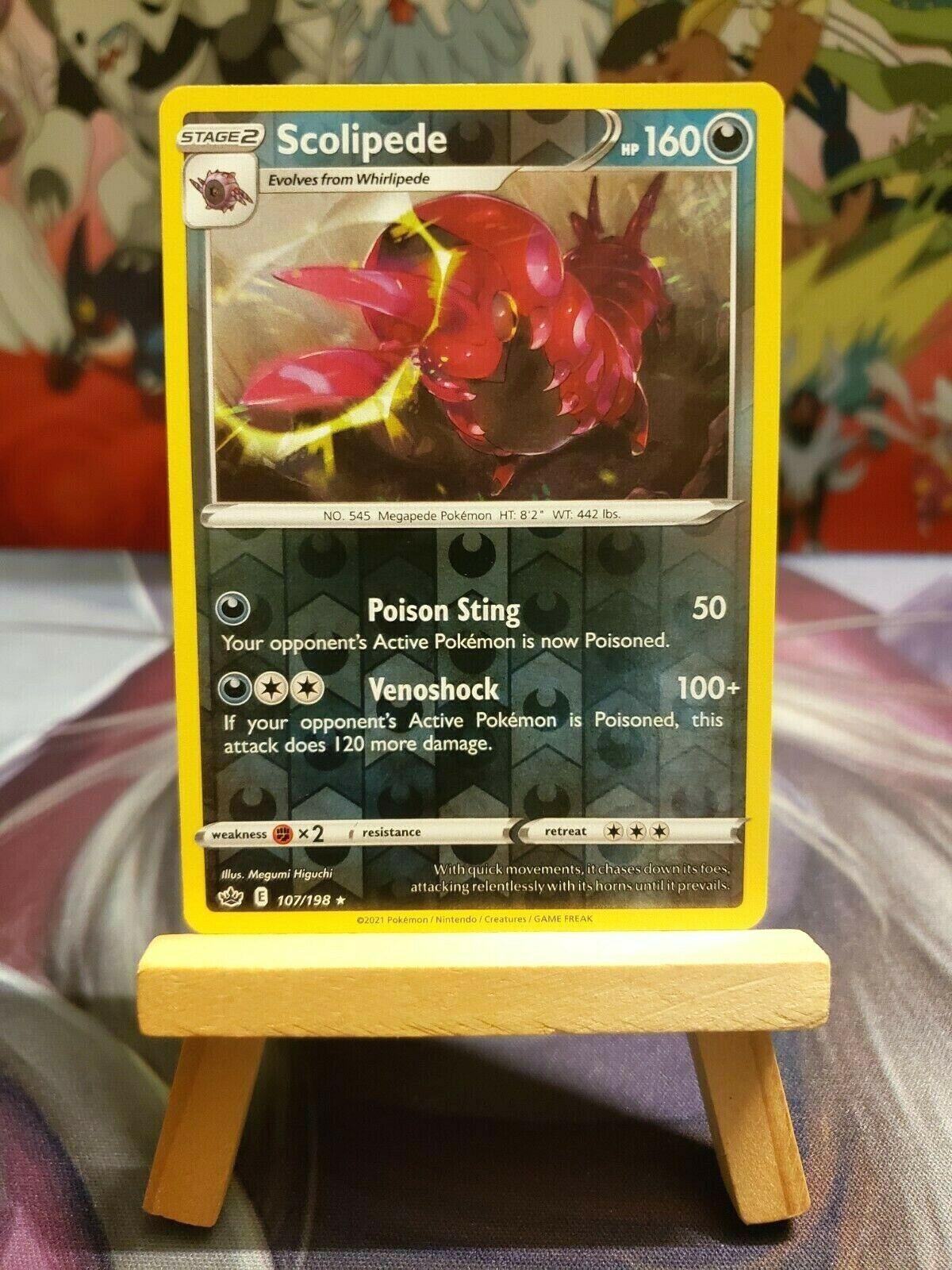 Scolipede [107/198] Reverse Holo Rare, SWSH Chilling Reign, Mint/NM, Pokemon TCG