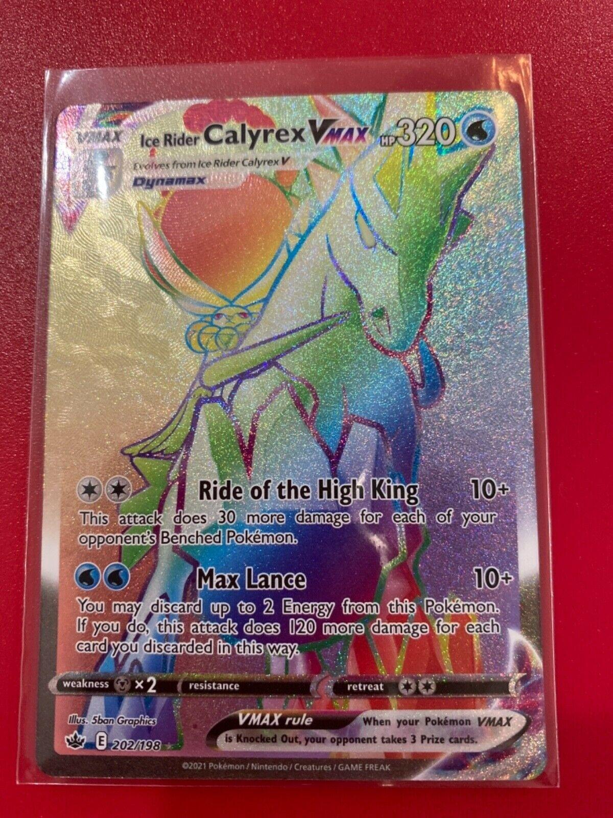 Extra Mint Ice Rider Calyrex Vmax Rainbow Rare- 202/198 - Chilling Reign Pokémon
