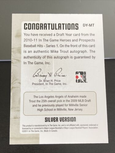 Mike Trout 2011 In The Game Heroes & Prospects Auto Draft Year Silver ITG - Image 2