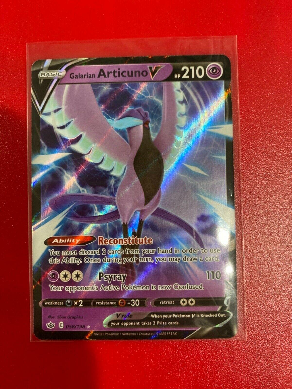 Pokemon Card Galarian Articuno V 058/198 Ultra Rare Chilling Reign NEW! 58/198