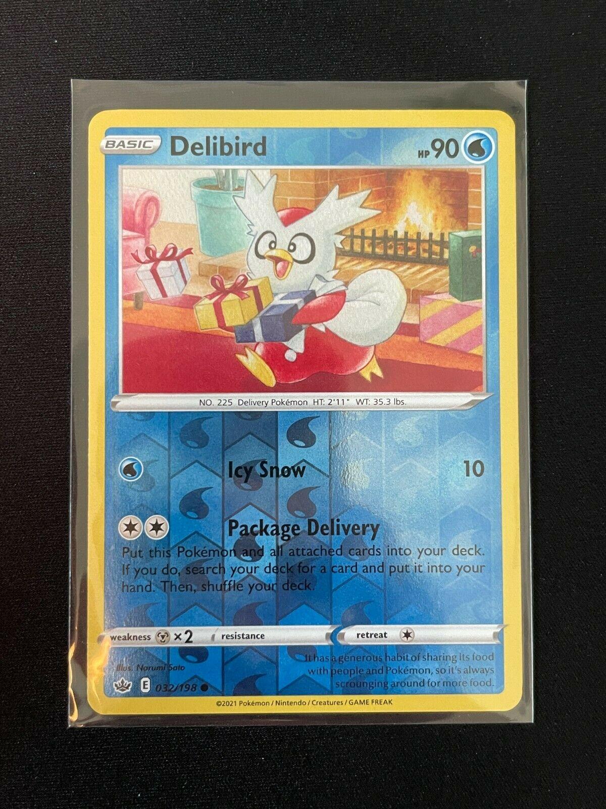 Pokemon Chilling Reign Delibird 032/198 Common Reverse Holo NM