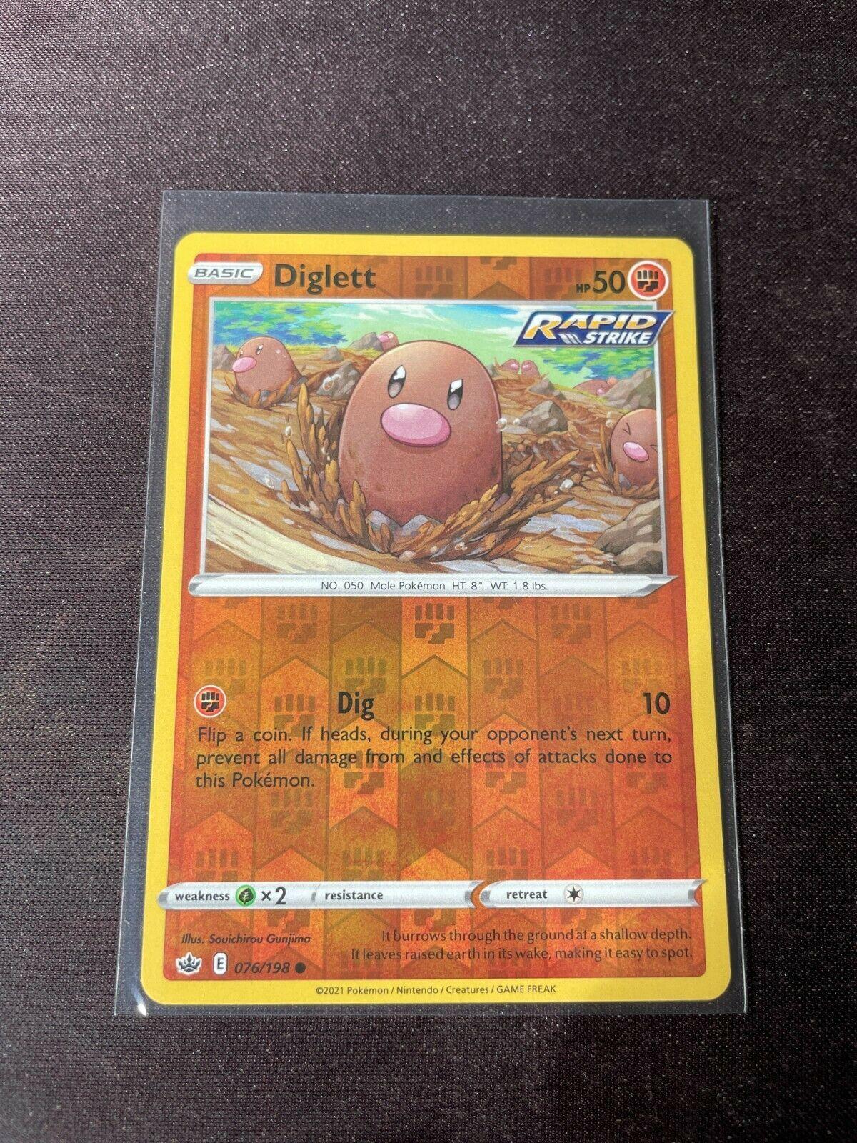 Pokemon TCG Chilling Reign 076/198 Diglett Card Fresh Reverse Holo Mint Rare