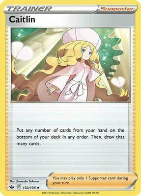 4x Caitlin - 132/198 - Uncommon NM-Mint Pokemon SWSH6 - Chilling Reign