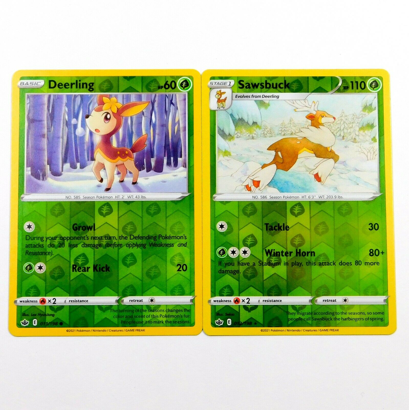 Sawsbuck 012/198 Reverse Holo Set Chilling Reign Rare Pokemon Card NM/M