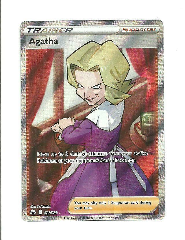 POKEMON CHILLING REIGN Agatha Full Art Trainer 186/198 ,