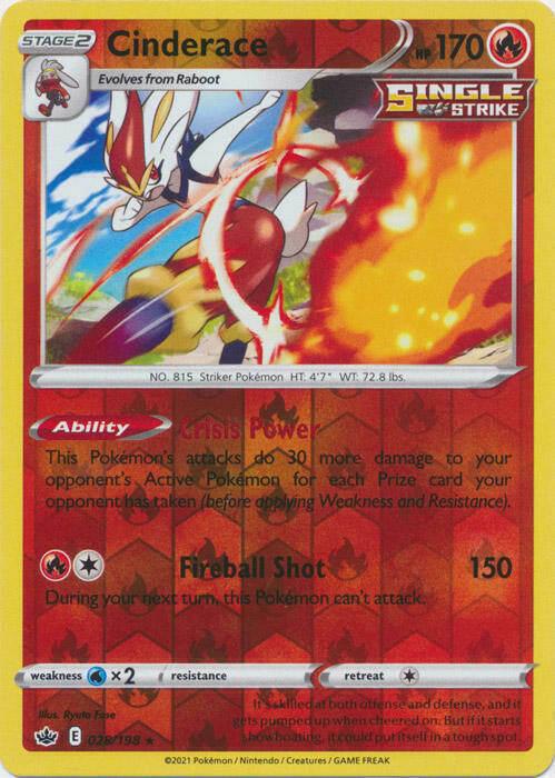 x1 Cinderace - 028/198 - Holo Rare - Reverse Holo Pokemon SS06 Chilling Reign M/