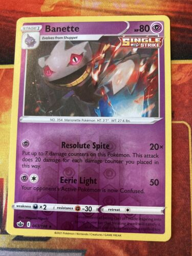 Pokemon - Banette - 063/198 - Reverse Holo Rare - Chilling Reign - NM/M