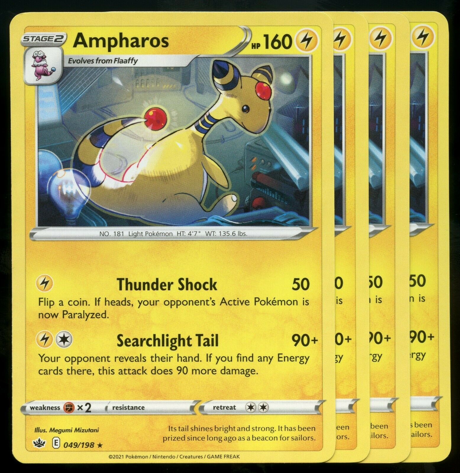 Pokemon Cards x4 Ampharos 049/198 Rare Chilling Reign Playset Excellent