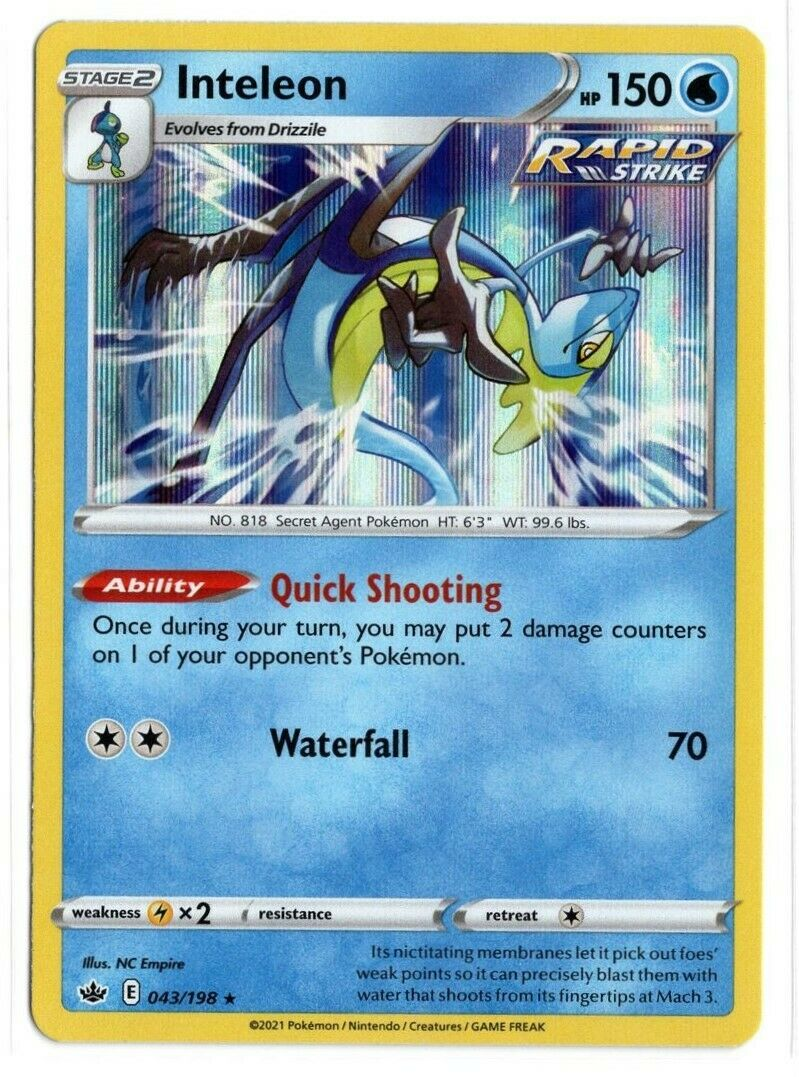 Pokemon TCG Chilling Reign - Inteleon 043/198 NM/M - Holo - *Brand New*