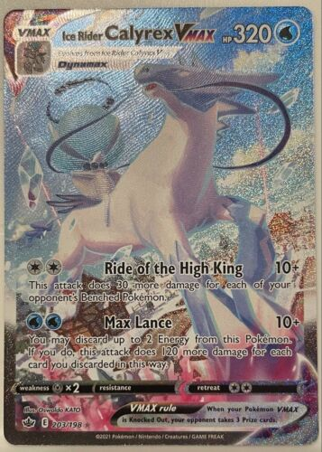 Pokemon TCG - Chilling Reign Ice Rider Calyrex VMax Alternate Art -  203/198 N/M