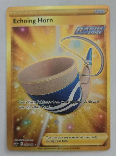 Pokemon Echoing Horn 225/198 Gold Secret Rare Chilling Reign Ultra Full Art Holo