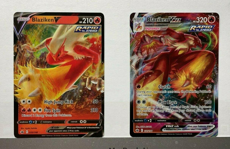 Pokemon TCG Chilling Reign Blaziken V 020/198 & Blaziken VMax 021/198 NM