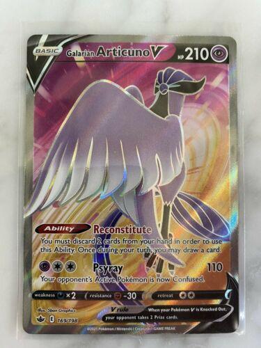 Pokemon Card Galarian Articuno V Full Art 169/198 Ultra Rare Chilling Reign LP