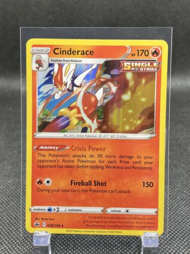 Cinderace Single Strike Holo Rare English Pokemon Card Chilling Reign 028/198