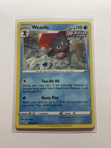 Pokemon 2021 S&S Chilling Reign Weavile 031/198 Holo Rapid Strike Rare