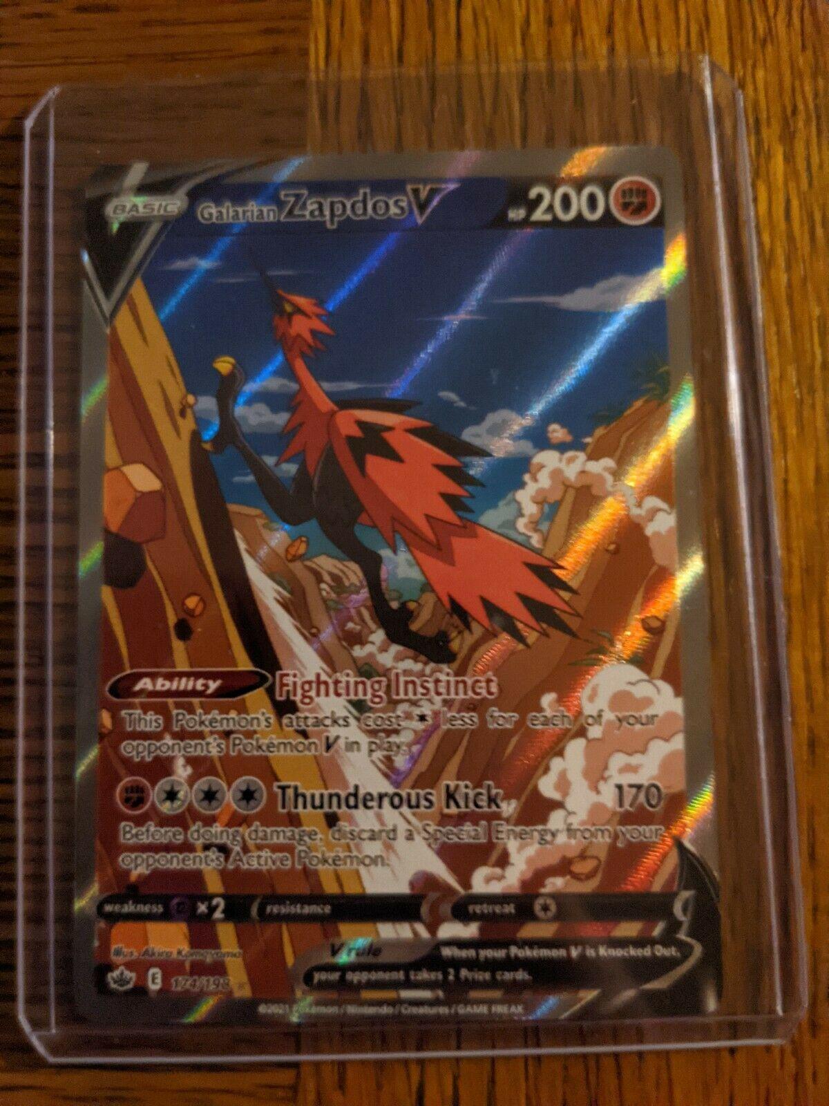 Galarian Zapdos V Alternate Art 174/198 Chilling Reign Pokemon Card