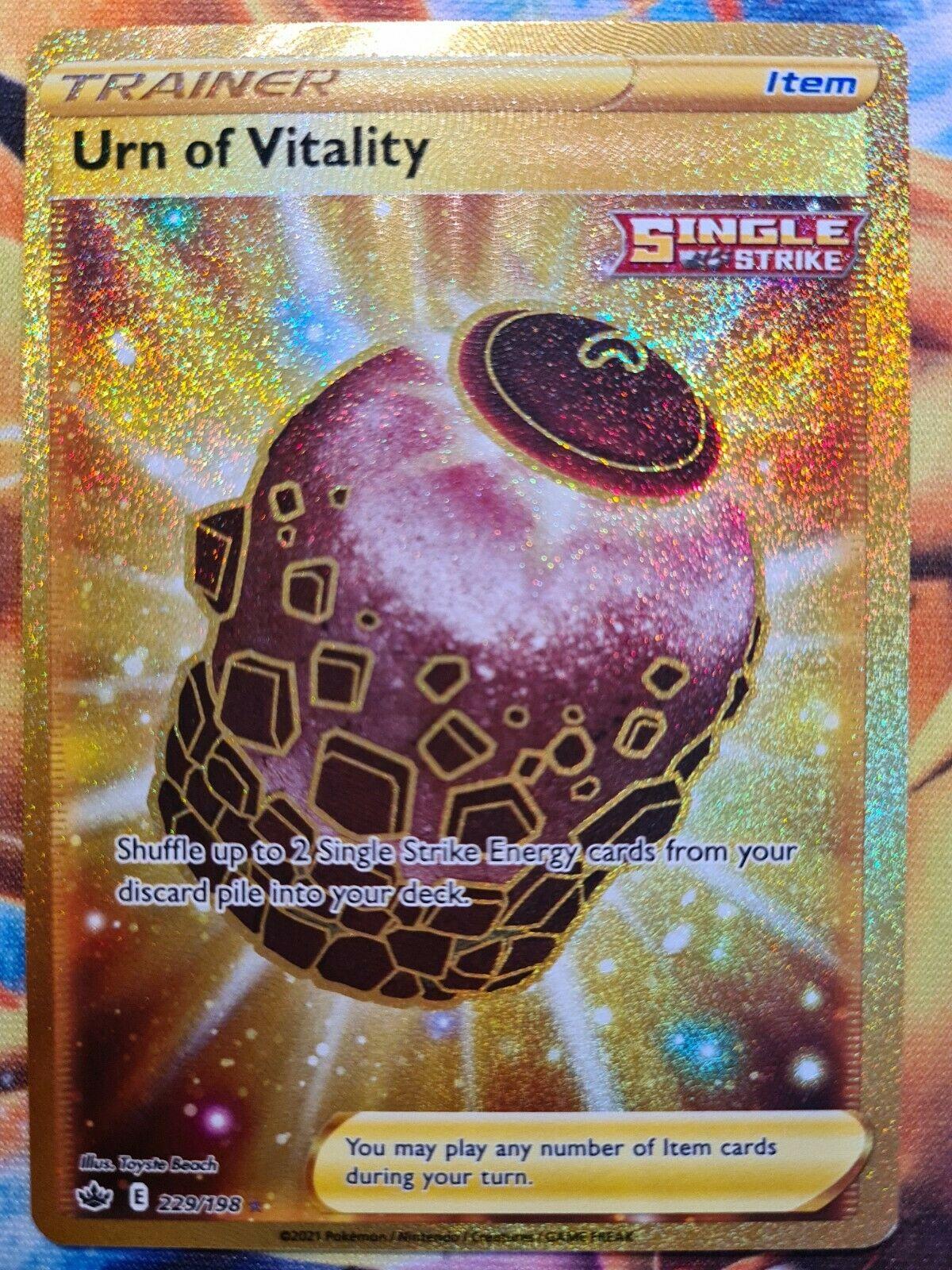 Urn Of Vitality Secret Rare Full Art Pokemon Card, Chilling Reign, 229/198