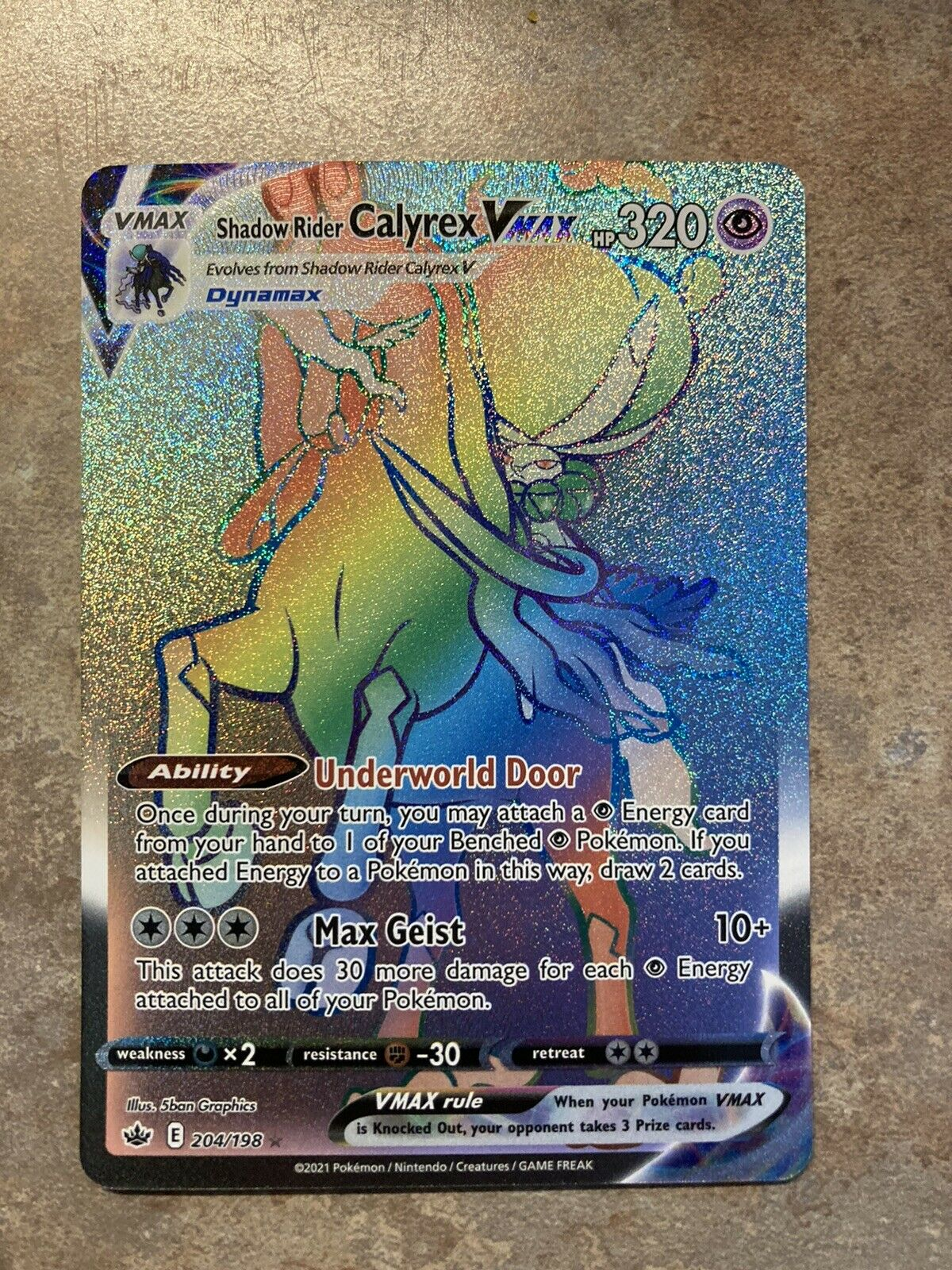 Shadow Rider Calyrex VMAX 204/198 Chilling Reign Pokemon TCG Secret Rare