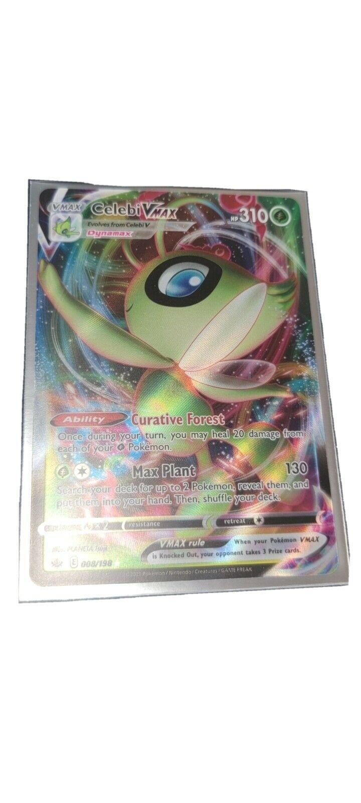 Celebi Vmax 008/198 Ultra Rare Chilling Reign Pokemon Card Nm