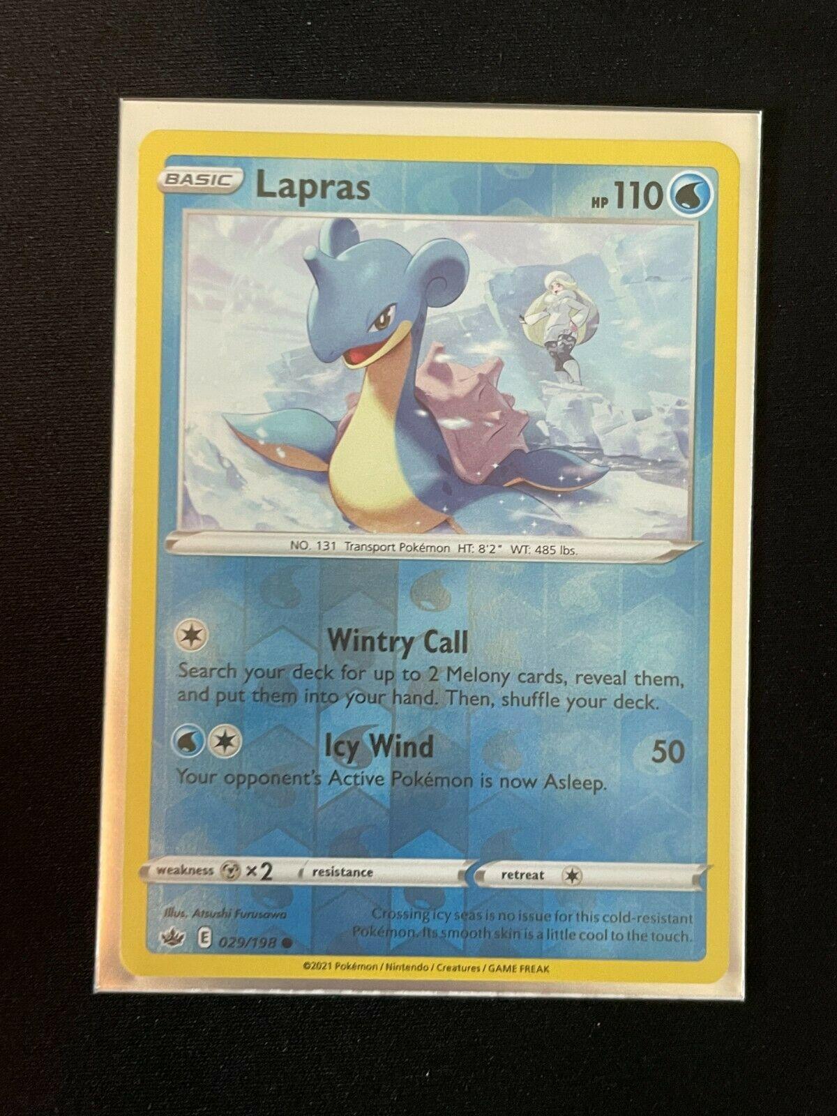 Pokemon Chilling Reign Set REVERSE HOLO Lapras 029/198 NM
